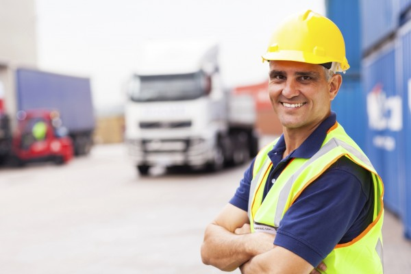 Logistics worker in hi-vis